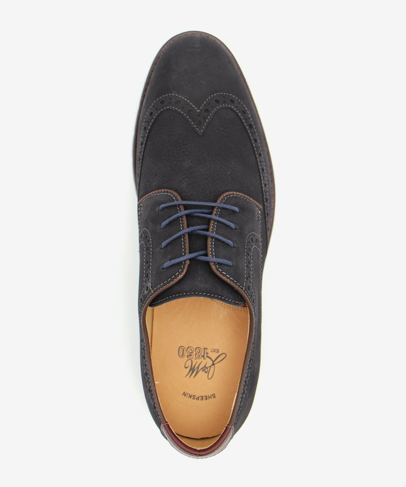 J&M 1830 Martell Wingtip Shoe in Tumbled Navy