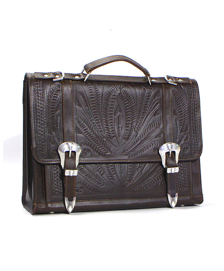 Ropin West Dual Buckle Briefcase in Brown