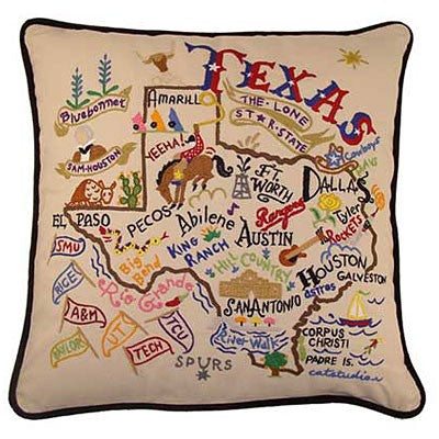 Catstudio Embroidered Lone Star State Pillow