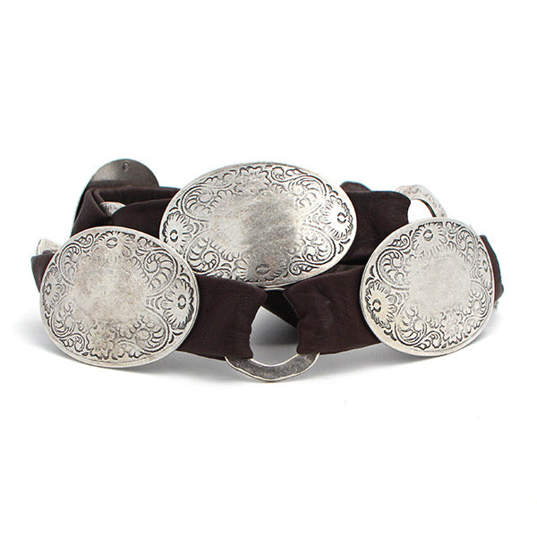 Streets Ahead Leather Belt with Antique Silver Conchos
