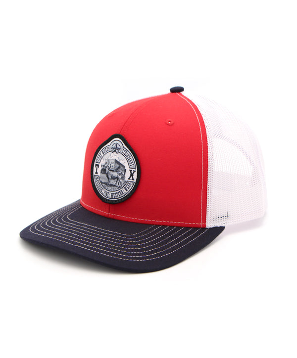 Maverick Steer Patch Cap in Red-Blue