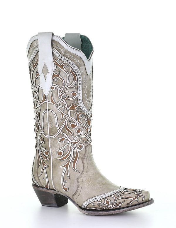 EMBROIDERED STUDDED CRYSTAL BOOT