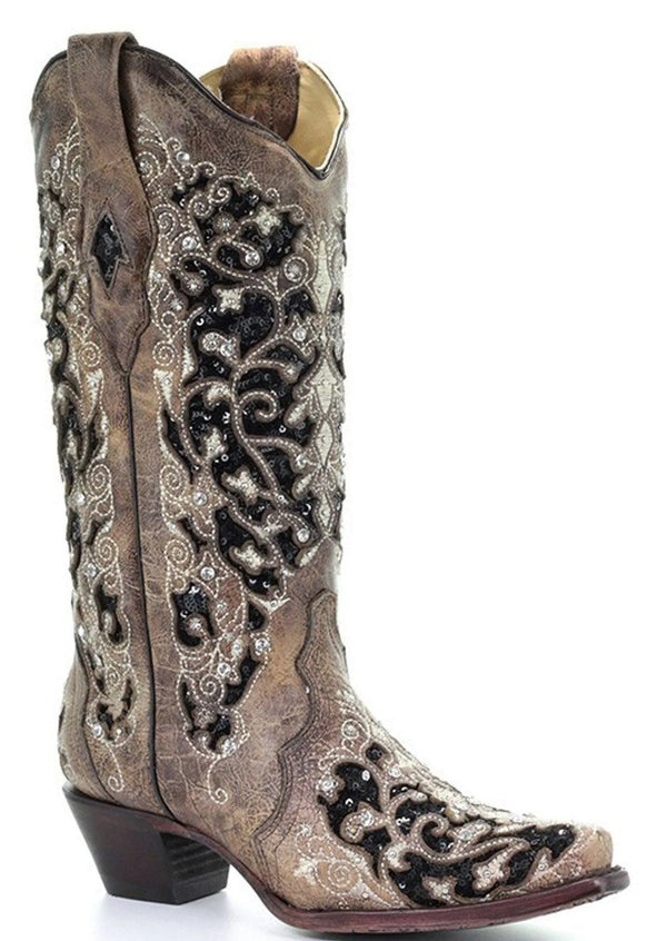 INLAY EMBROIDERED STUDDED CRYSTAL BOOT