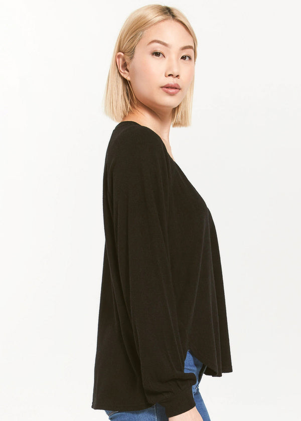 PLIRA SWEATER SLUB V-NECK TOP