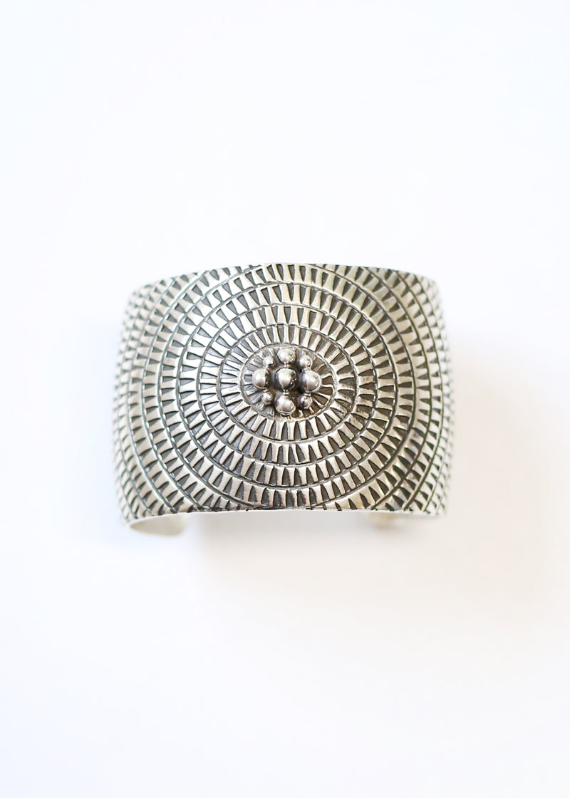 Sterling Silver Stamped and Dotted Cuff