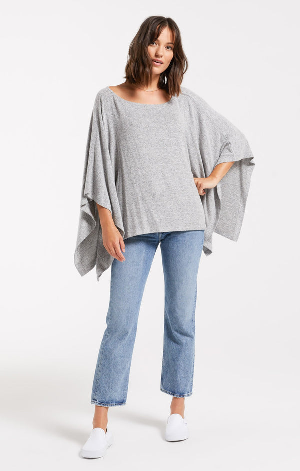 RUBY MARLED PONCHO PULLOVER