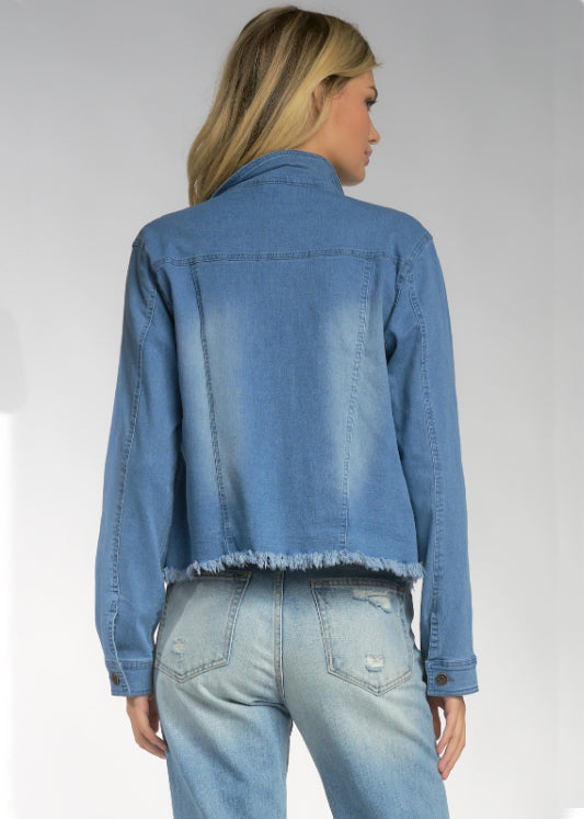 DENIM FRAYED JACKET