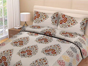 Double bedsheet Brown Small Tree Smooth Cotton Screen Print