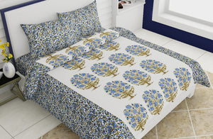Double bedsheet Red Small Tree With Blue Flower Smooth Cotton Screen Print
