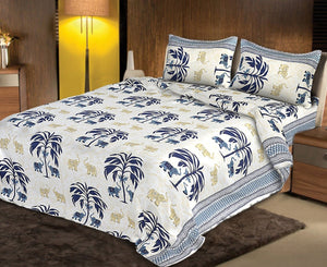 Double Bedsheet White Base With Brown Elephant Pattern Smooth Touch With 2 Pillow Cover