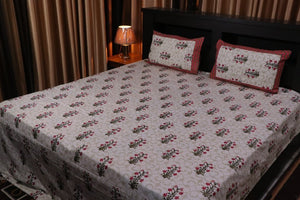 Jaipurtader kingsize print cotton bedsheet with two Pillow Cover
