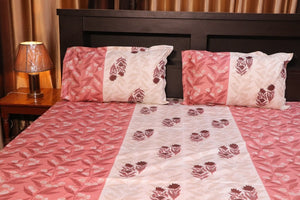 Jaipurtader Pure Cotton Single Bedsheet floral print with two pillow cover