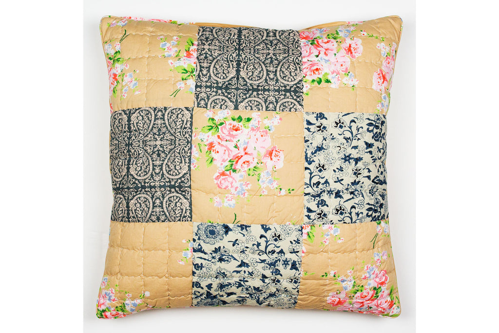 Handstitched Patchwork Cushion | Denim Rose
