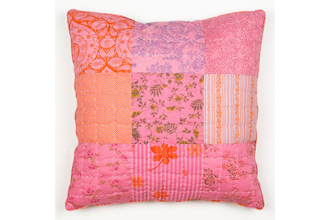 Handstitchd Patchwork Cushion | Honey Pomegranate