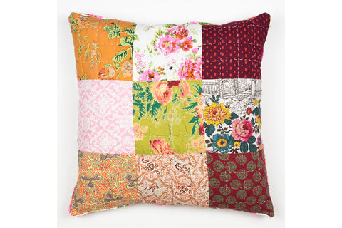 Handstitchd Patchwork Cushion | Indian Marigolds