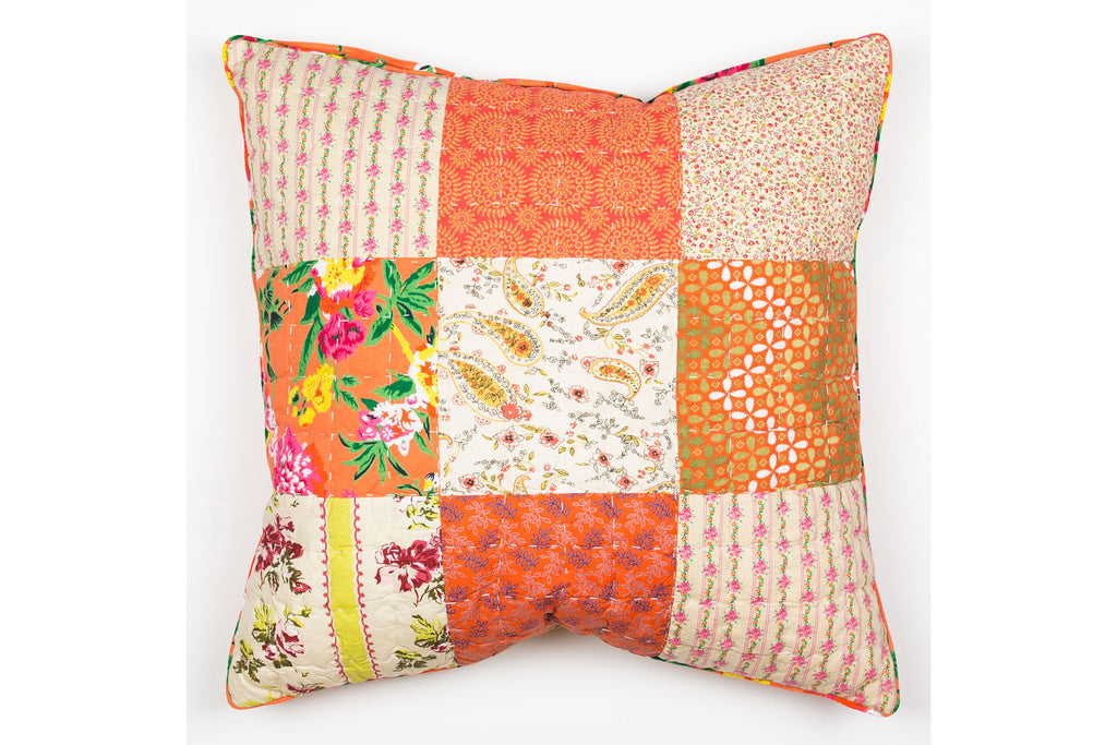 Handstitchd Patchwork Cushion | Orange Blossom