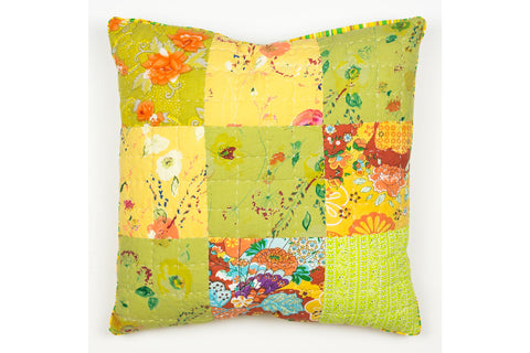 Handstitchd Patchwork Cushion | Lemon Verbena