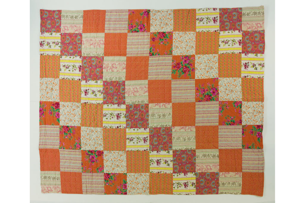 Handstitched Patchwork Quilt | Orange Blossom