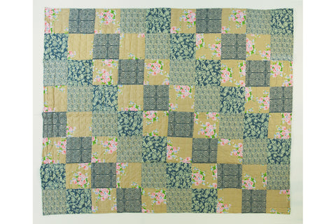 Handstitched Patchwork Quilt | Denim Rose