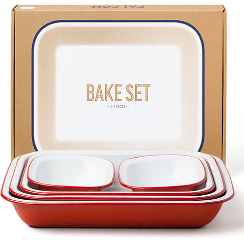 Enamel Bake Set in Pillarbox Red