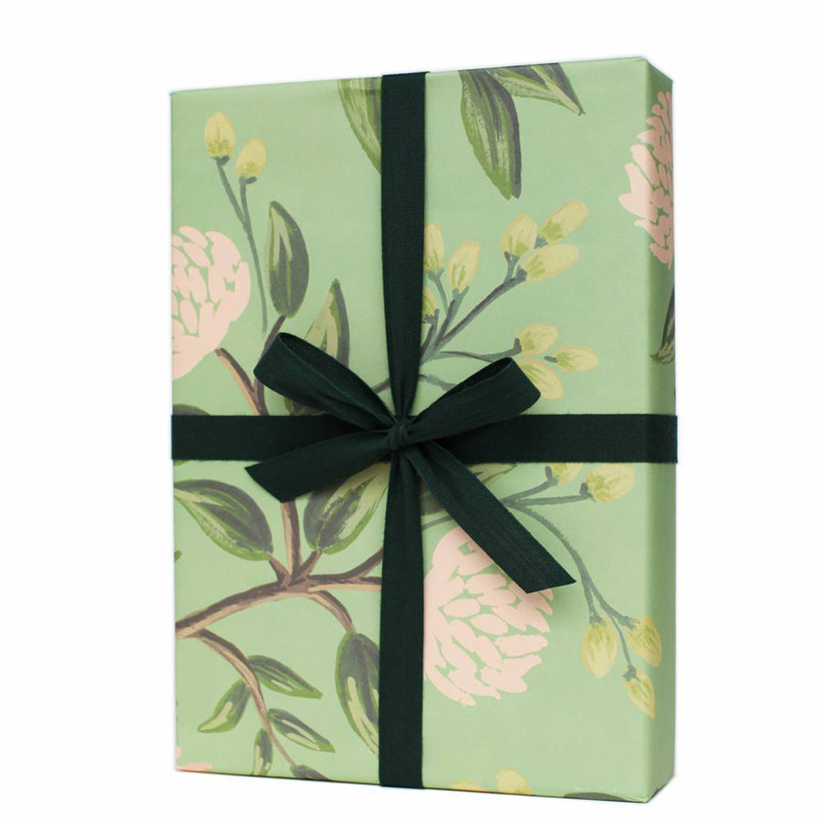 Emerald Peonies Wrapping Paper