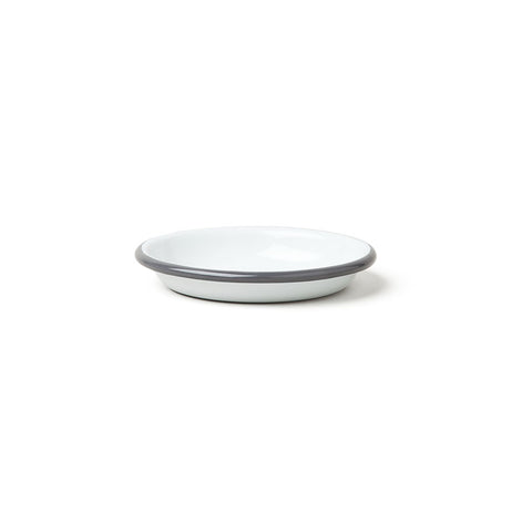 Enamel Sauce Dish in White with Pigeon Grey Rim