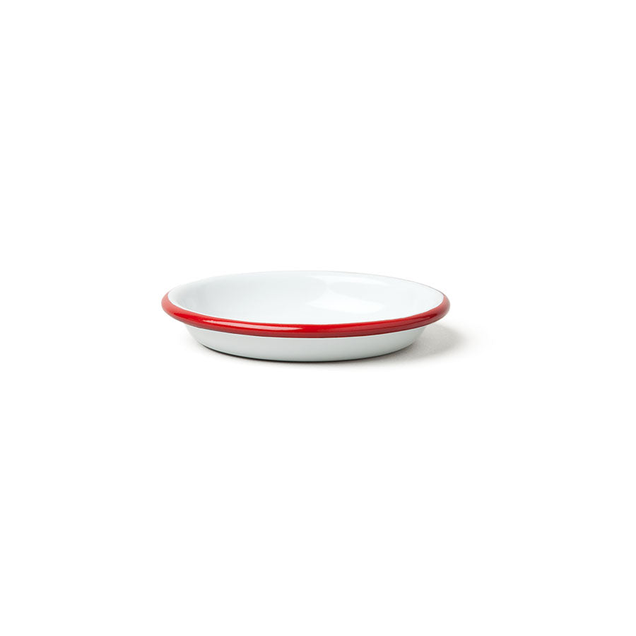Enamel Sauce Dish in White with Pillarbox Red Rim