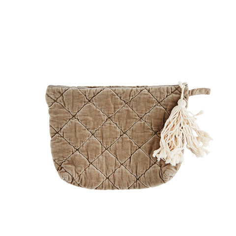 Quilted Velvet Taupe Clutch