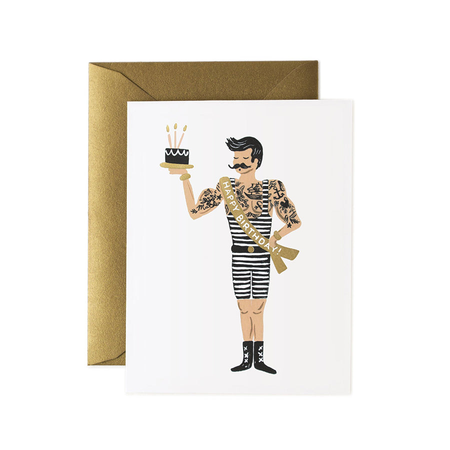 Strong Man Happy Birthday Greeting Card