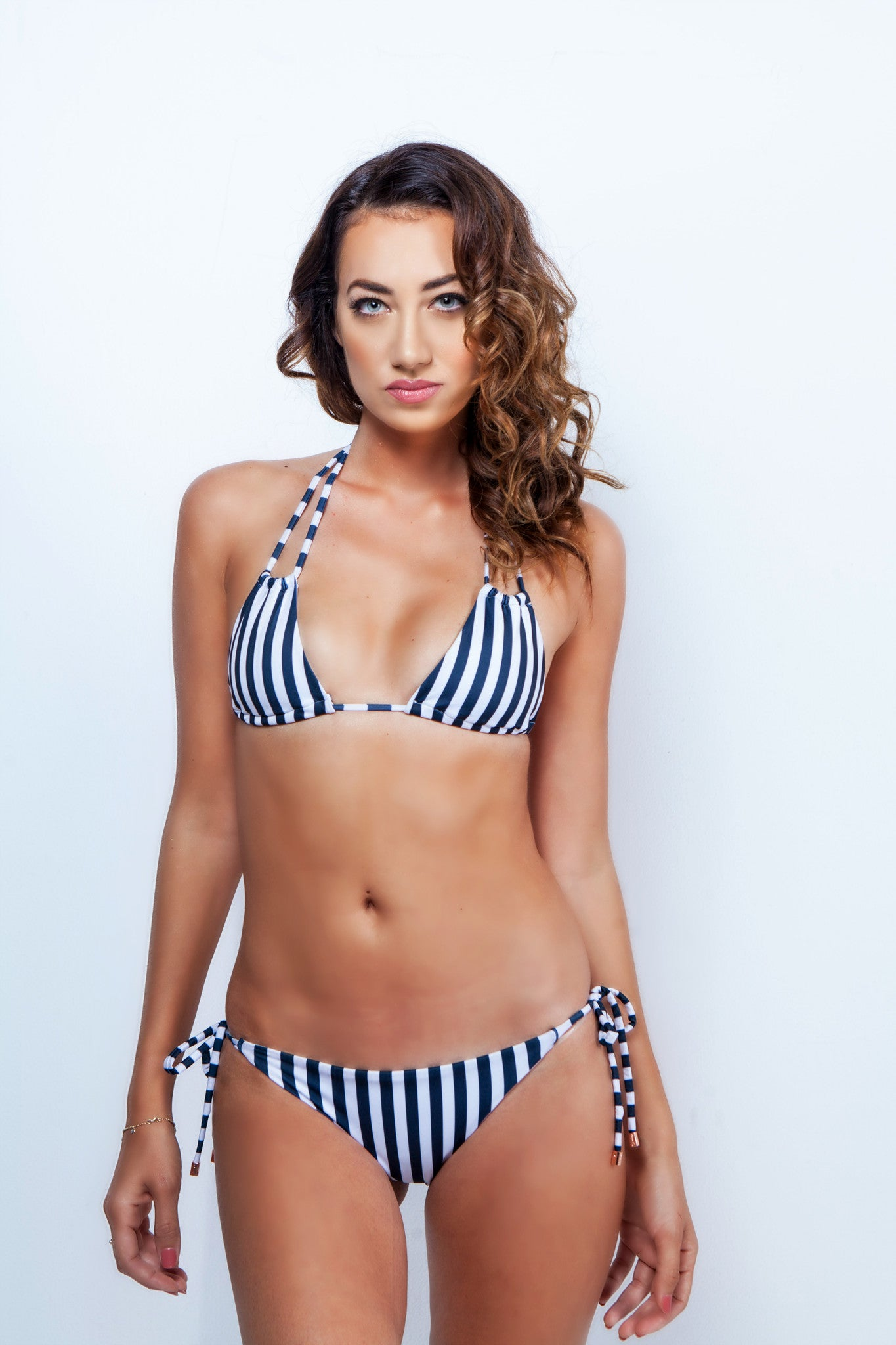 Stripe Tie Side String Bikini