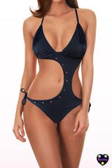 One Piece Swimsuit - Black Swarovski Cut out Monokini