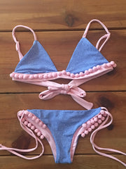 Denim Bikini with Baby Pink Pom Pom