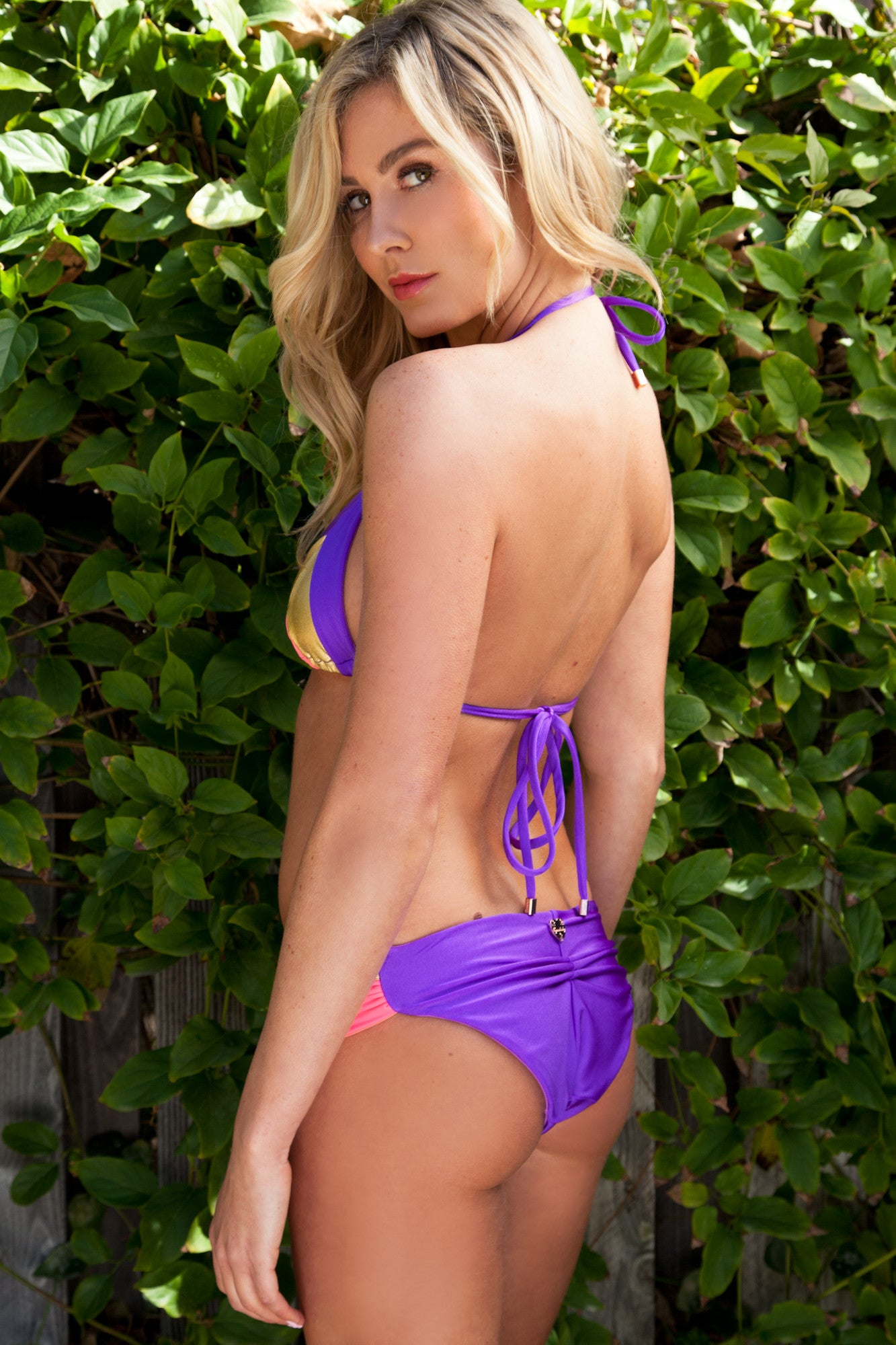 Color Block Purple Coral Gold Swimsuit