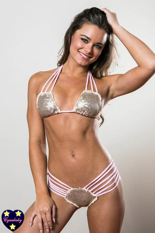 Champagne Gold Sequin and Pink Bikini - Cheeky Swimsuit Set