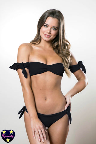 Cheeky Bikini - Black Off Shoulder Sleeve Bandeau Swimsuit Set