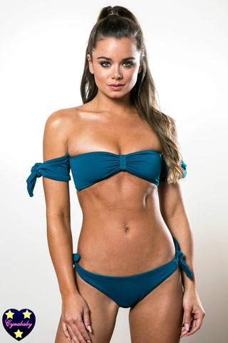 Cheeky Bikini - Mallard Teal Off Shoulder Sleeve Bandeau Swimsuit Set