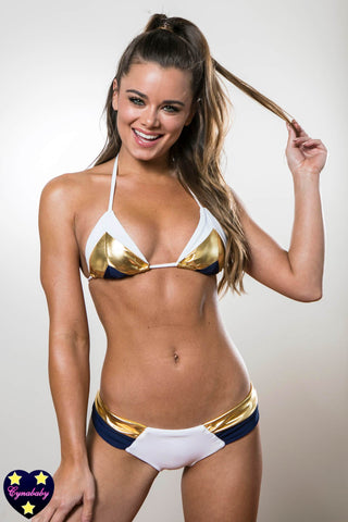 Color Block White Navy Gold Bikini Swimsuit Set