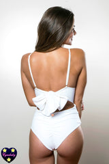 Custom High Waist One-Piece Monokini with Back Bow - Black