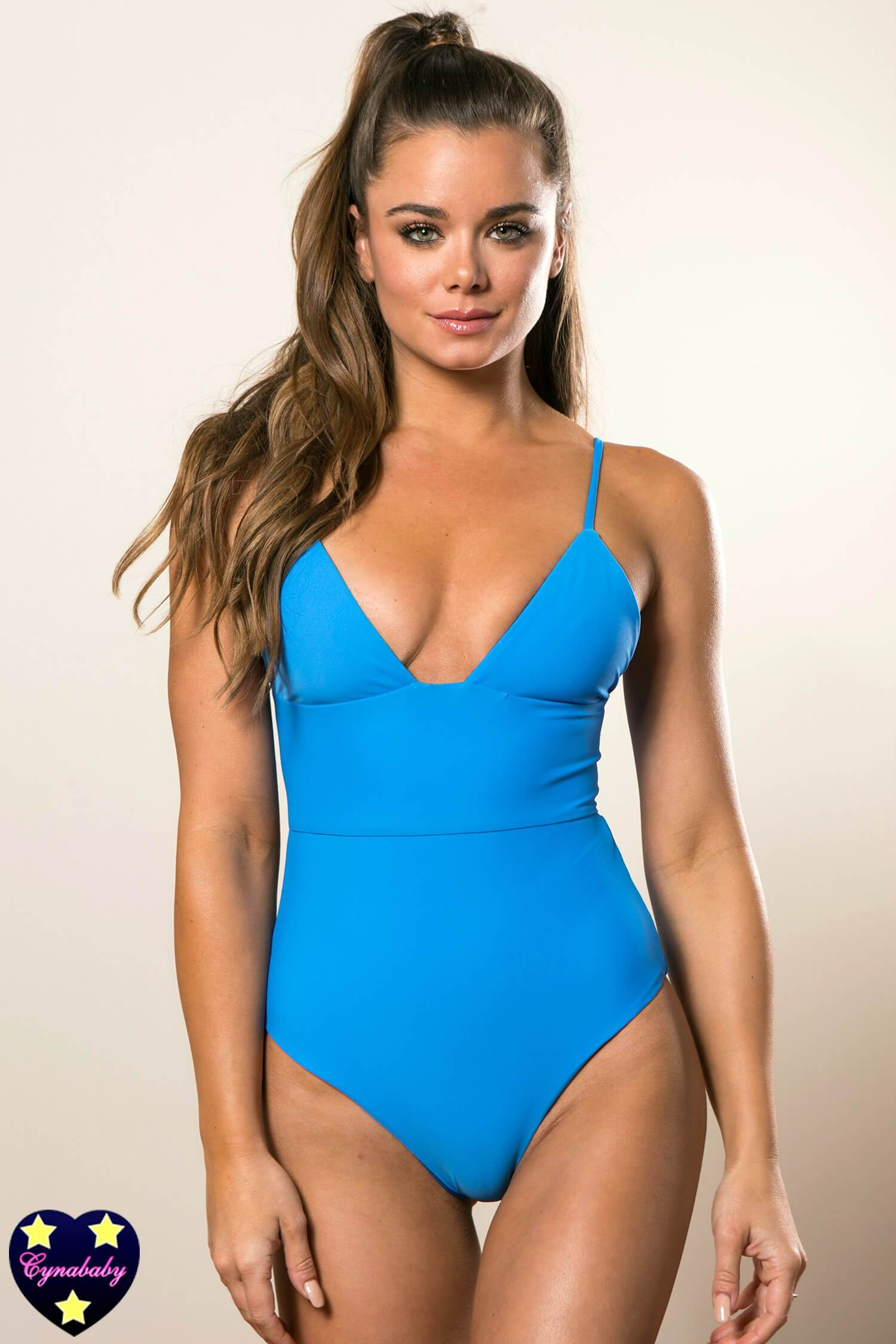 Custom High Waist One-Piece Monokini with Back Bow - Electric Ocean Blue
