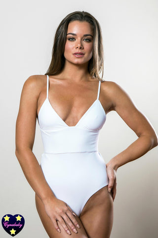 Custom High Waist One-Piece Monokini with Back Bow - White