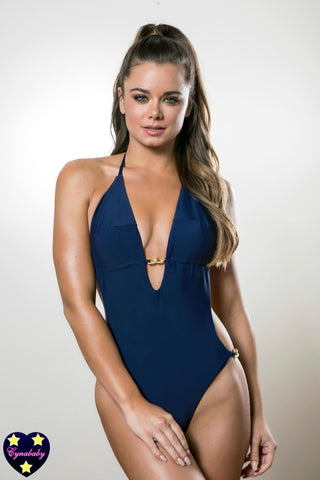 Custom One-Piece Monokini Swimsuit - Navy Gold Chain