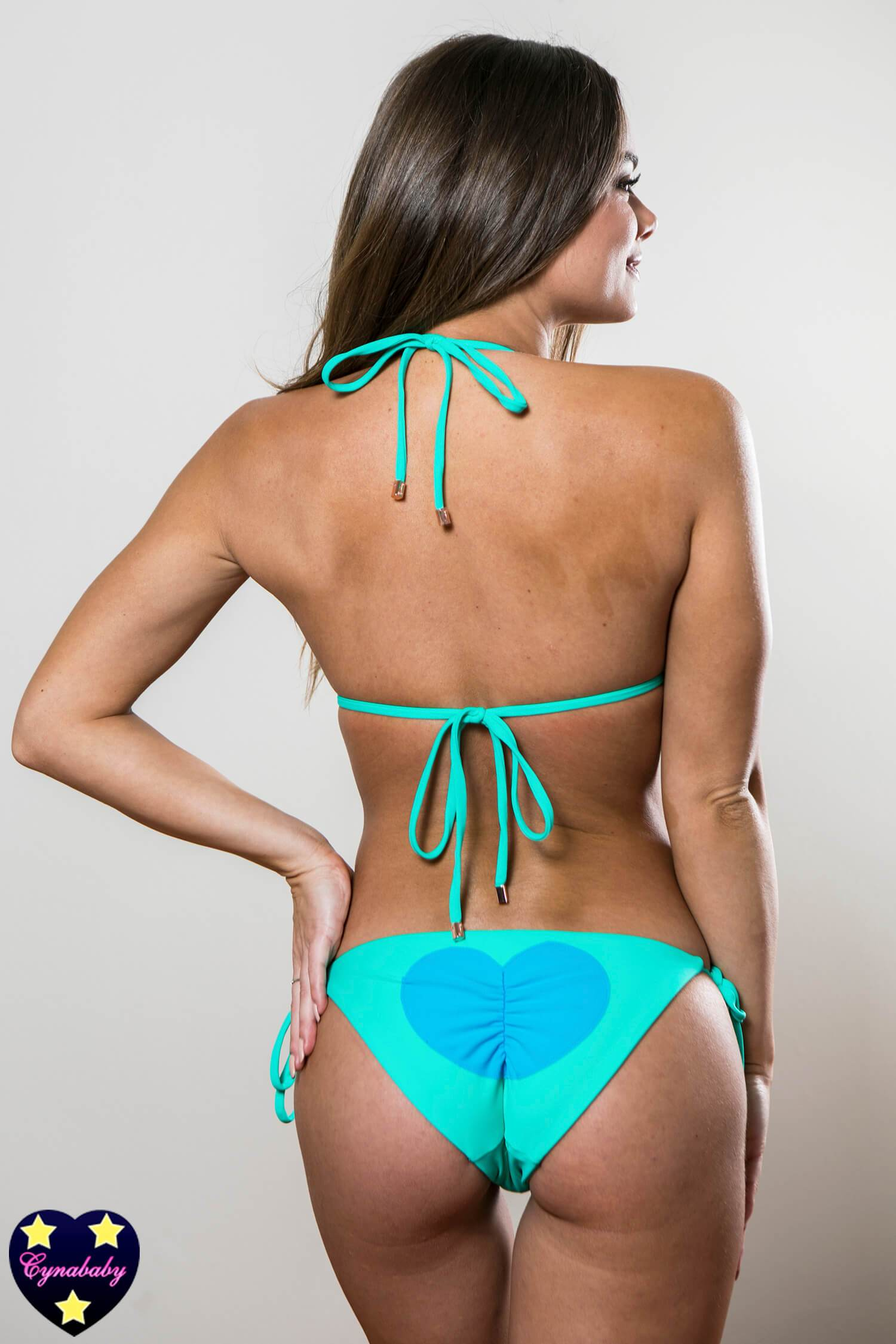 Heart butt swimsuit - Mint Bikini with Carribean Blue Hearts Set