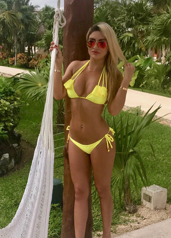 Strappy Ruffled Booty Bikini - Bright Yellow