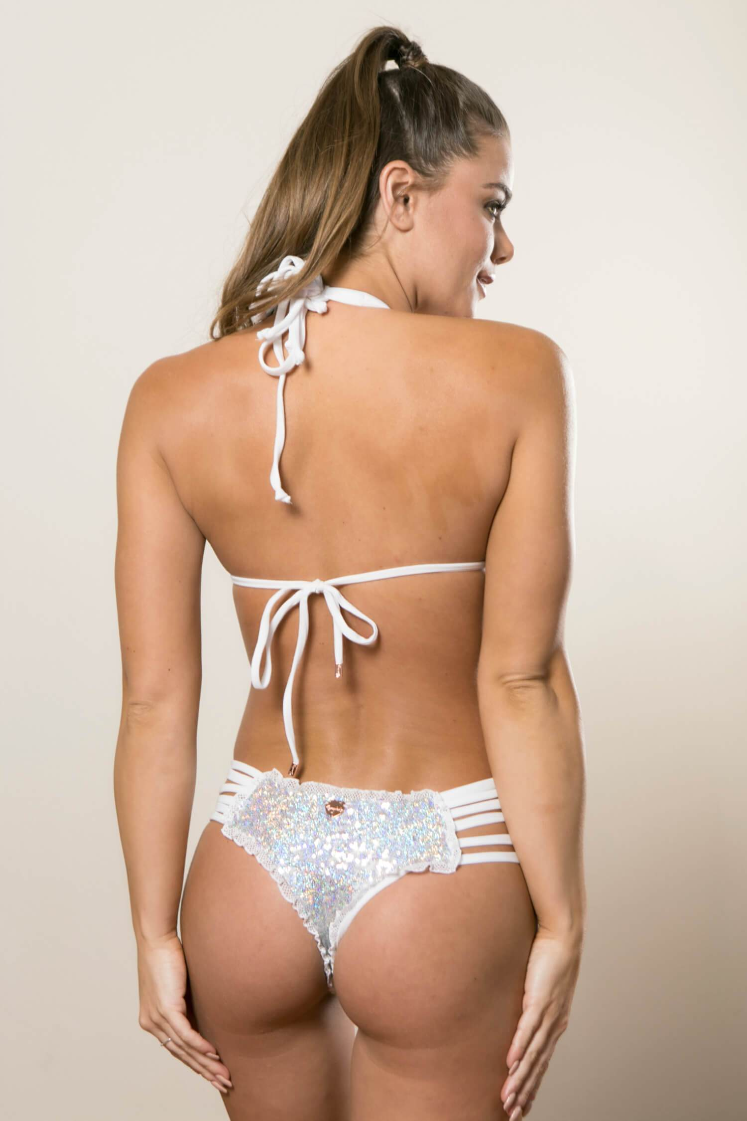 Iridescent Sequin and White Bikini - Bridal Cheeky Swimsuit Set