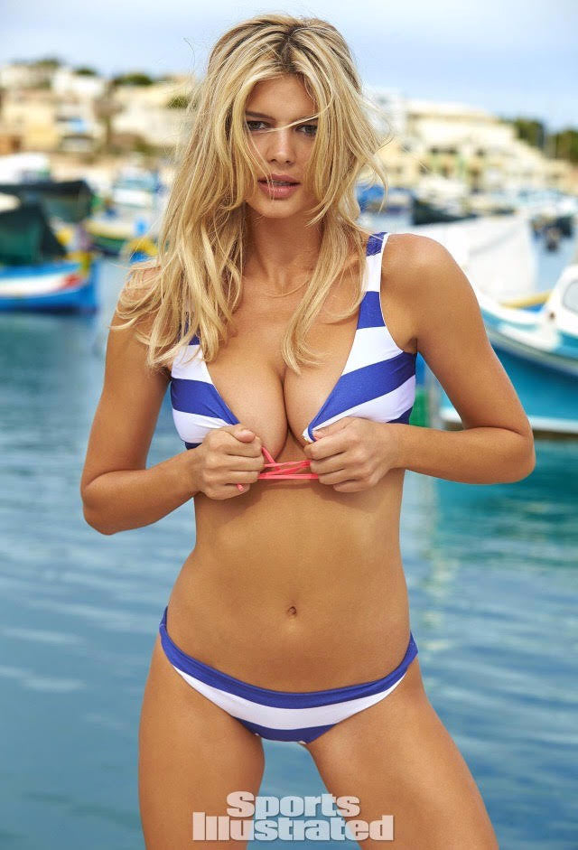 2016 Kelly Rohrbach - Sports Illustrated Nautical Blue Stripe Swimsuit - Coral Ties
