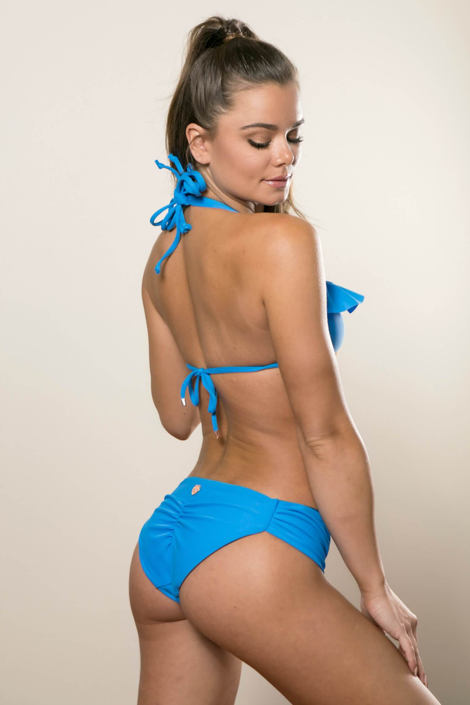 Ruffle Strappy Top with Hipster Bottoms Swimsuit Set - Electric Ocean Blue