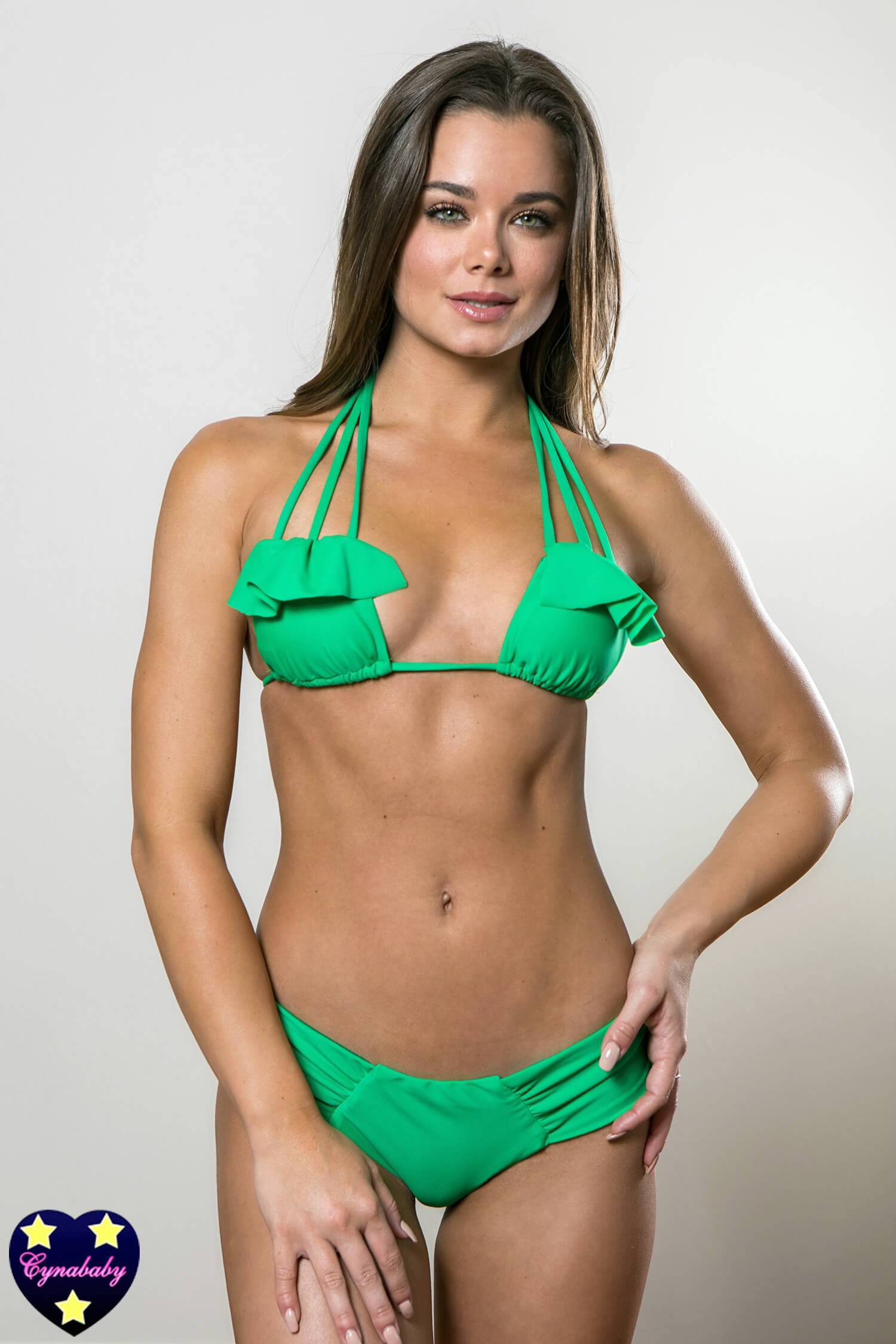 Ruffle Strappy Top with Hipster Bottoms Swimsuit Set - Kelly Green
