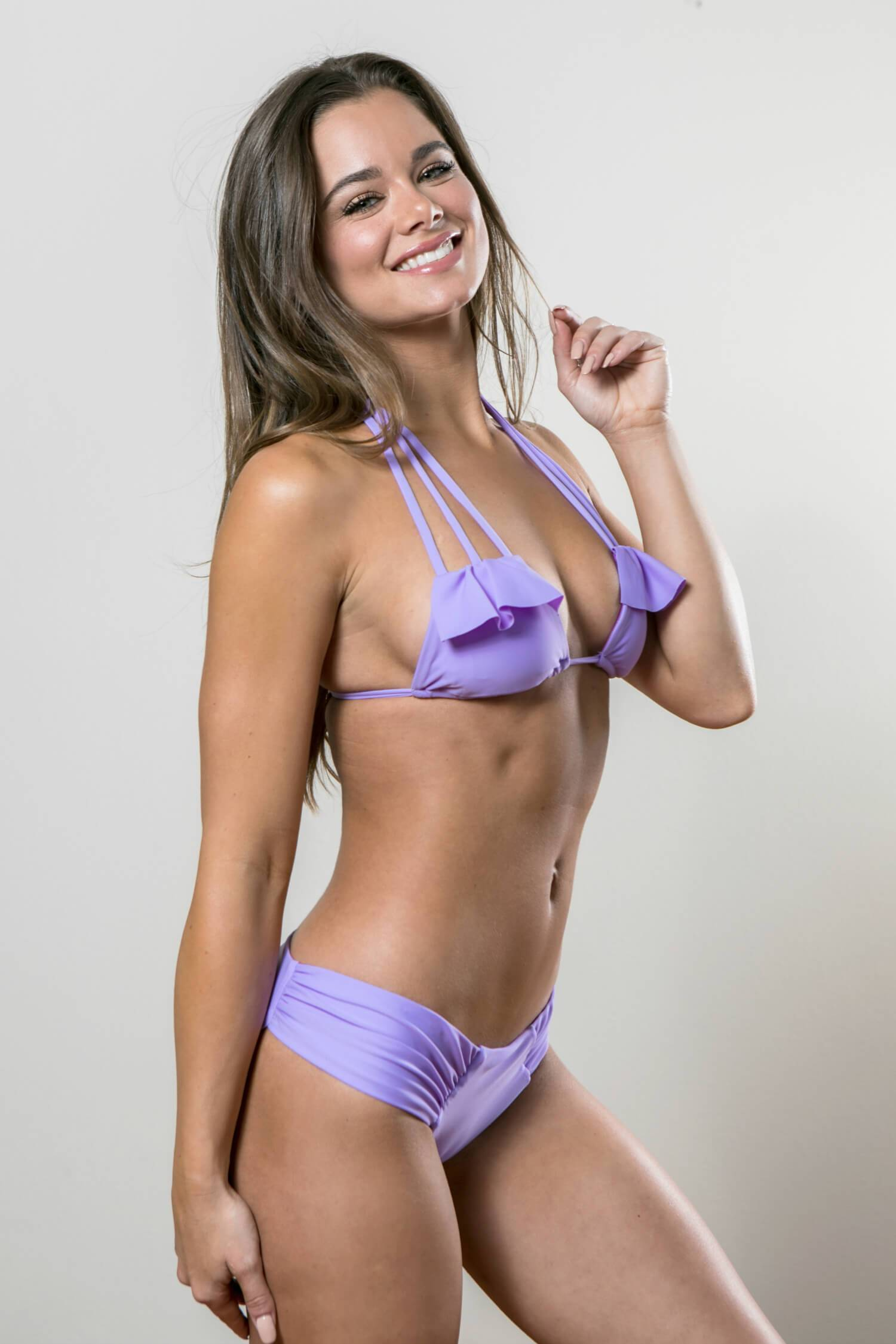 Ruffle Strappy Top with Hipster Bottoms Swimsuit Set - Lilac