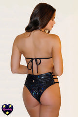 High Waist Strappy Eyelet Swimsuit -Metallic Hologram Black
