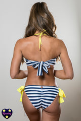 Nautical Striped Swarovski Bandeau Bikini Set - yellow navy